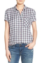 Treasure And Bond Women's Plaid Boyfriend Shirt White Hazy Tartan