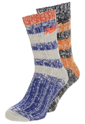 Superdry Big 2 Pack Socks Burnt Orange Twist Supermarine Navy Twist