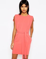 Asos Belted Mini Dress With Split Cap Sleeve And Pencil Skirt Pink