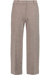 Helmut Lang Cropped Knitted Wool Wide Leg Pants Nude