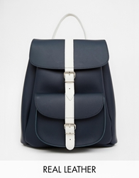 Grafea Leather Backpack In Navy With Contrast Stripe Navyblue11