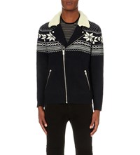 The Kooples Fair Isle Knitted Cardigan Middle Grey