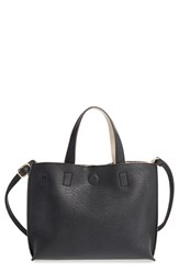 Street Level Reversible Faux Leather Crossbody Mini Tote And Wristlet Black Black Ivory