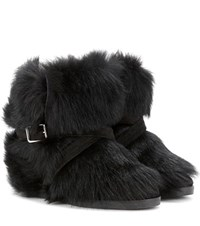 Gianvito Rossi Cortina Fur Concealed Wedge Ankle Boots Black