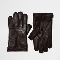 River Island Mens Brown Leather Gloves