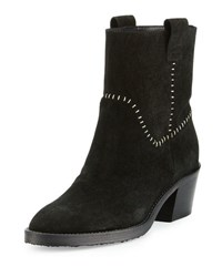 Aquatalia By Marvin K Lorie Suede Western Ankle Boot Black