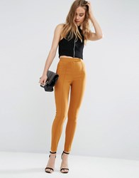 Asos High Waist Trousers In Skinny Fit Rich Caramel Tan