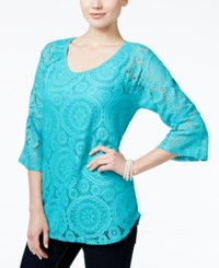 Jm Collection Lace Three Quarter Sleeve Top Only At Macy's Urban Aqua