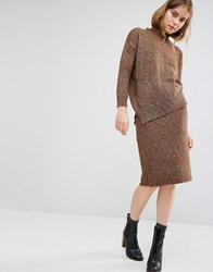 Paisie Pencil Skirt In Marl Knit Brown