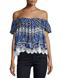 Lovers Friends Life's A Beach Off The Shoulder Top Royal Scarf