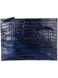 Zanellato Crocodile Effect Clutch Blue