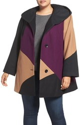 Gallery Plus Size Women's Colorblock Wool Blend Coat
