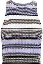 Elizabeth And James Striped Stretch Ribbed Knit Tank Lavender
