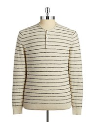 Black Brown Striped Henley Shirt Bone White
