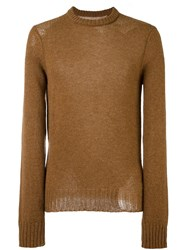 Maison Martin Margiela Distressed Knit Sweater Brown