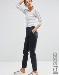 Asos Tall Casual Chino Trousers With Roll Hem Navy