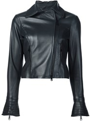 Carolina Herrera Leather Motorcycle Jacket Blue