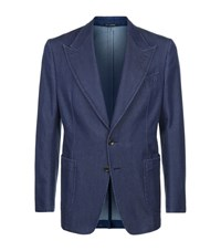 Tom Ford Patch Pocket Denim Blazer Male Blue