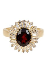 Olivia Leone 18K Yellow Gold Plated Sterling Silver Garnet And Baguette White Topaz Ring Red