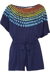 Mara Hoffman Embroidered Stretch Jersey Playsuit Blue