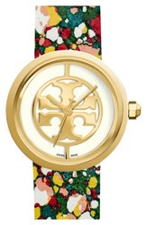 Women's Tory Burch 'Reva' Logo Dial Leather Strap Watch 36Mm Green Confetti Gold