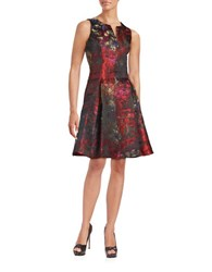 Chetta B Sleeveless A Line Dress Lipstick Multi