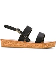 K. Jacques Cork Sole Sandals Black