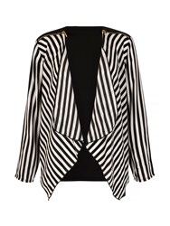 Mela Loves London Stripe Print Waterfall Jacket Black