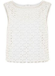 Mint Velvet Ivory Geomatric Lace Shell Top