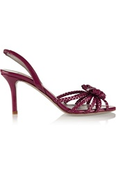 Valentino Braided Patent Leather Pumps Purple