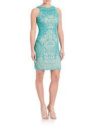 Theia Beaded Sleeveless Dress Turquoise