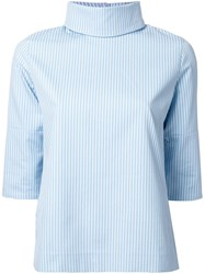 Taro Horiuchi High Neck Ribbed Blouse Blue