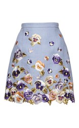 Andrew Gn Floral Embroidered Mini Skirt Blue