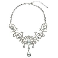 John Lewis Statement Pear Drop Glass And Cubic Zirconia Necklace Silver