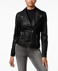Celebrity Pink Faux Leather Moto Jacket Black