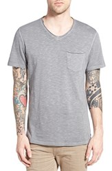 Men's Treasure And Bond Trim Fit Slub V Neck Pocket T Shirt Grey Shade