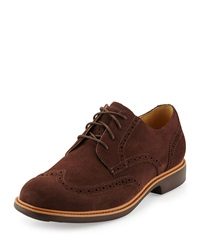 Cole Haan Great Jones Suede Wing Tip Chestnut Java
