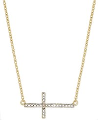 Victoria Townsend 18K Gold Over Sterling Silver Necklace Diamond Accent Sideways Cross Pendant
