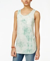 Say What Juniors' Sleeveless Tie Dyed Tunic Beach Glass Combo
