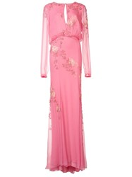 Monique Lhuillier Floral Embroidery Maxi Dress Pink And Purple