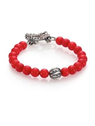 King Baby Studio Coral And Silver Feather Beaded Bracelet Red