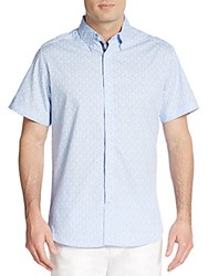 Saks Fifth Avenue Regular Fit Circle Print Cotton Sportshirt Blue