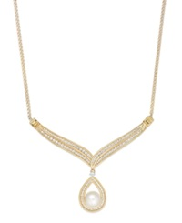 Macy's Cultured Freshwater Pearl 8Mm And Diamond 5 8 Ct. T.W. Frontal Necklace In 14K Gold Yellow Gold