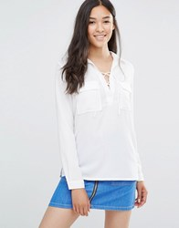 Soaked In Luxury Rosy Lace Up Shirt With Pockets Broken White
