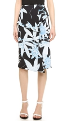 Whistles Botanical Floral Folded Skirt Black Multi