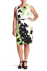 Nine West Floral Print Twill Belted Sheath Dress Plus Size Multi