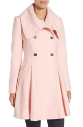 Guess Petite Women's Envelope Collar Double Breasted Coat Pale Pink