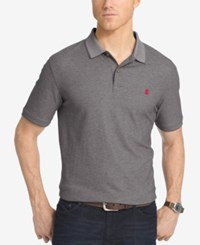 Izod Men's Pique Performance Heathered Polo Charcoal