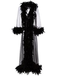 Folies By Renaud Feather Trim Sheer Robe Black