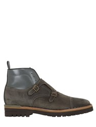 Brimarts Double Monk Strap Suede Ankle Boots
